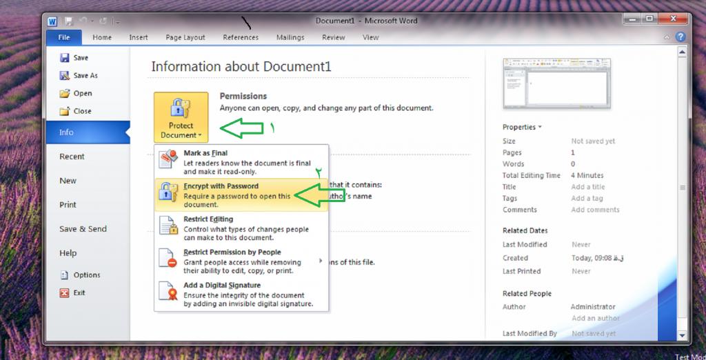 نحوه رمز گذاری بر روی Word,Powerpoint,Exel