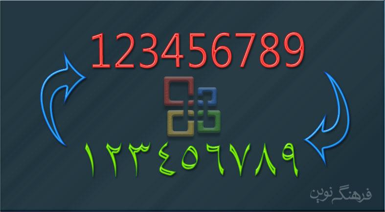 تبدیل اعداد فارسی به انگلیسی در ورد