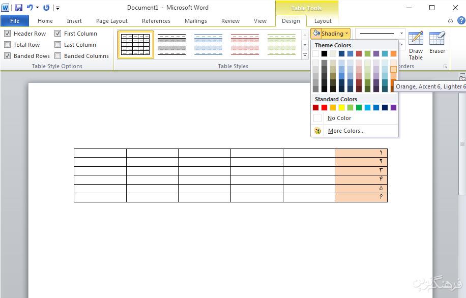آموزش Word ایجاد و ویرایش جدول ها2